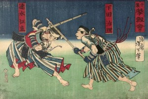 Woodblockprint from the Meiji period, which shows two Hokushin Ittō-ryū kenshi fighting a gekiken shiai at the Chiba-Dōjō