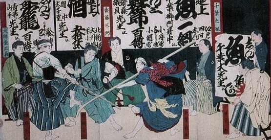 Woodblock print of the Chiba-Gekikenkai at the Chiba-Dōjō of the Meiji-period