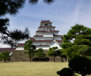 The restored Aizu castle currently