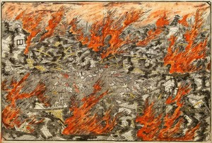 Woodblock print showing the destruction the Ansei earthquake caused to Edo