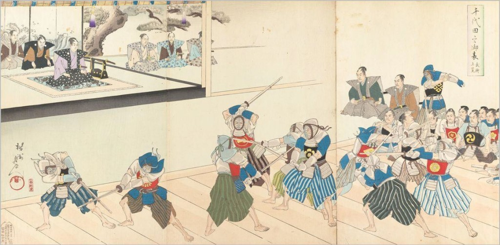 Taryū-jiai geiko during the late Edo-period, done in front of clan officials observing the fighting skills of the fencers